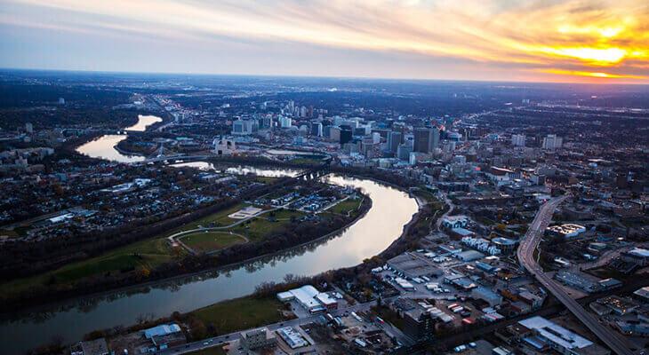 Vue aérienne de Winnipeg, au Manitoba