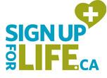 Logo de Sign Up for Life, formé de ces mots et d'un cœur dessiné avec un symbole plus à l'intérieur